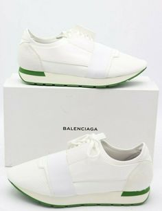 d0a89eeb6b09 NIB BALENCIAGA Mens White Green Race Runners Sneakers Shoes 13 46  695 New   Balenciaga  FashionSneakers