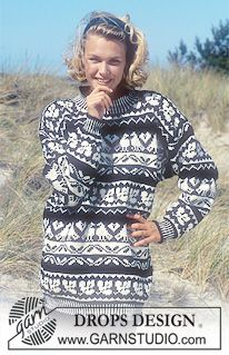"""DROPS Sweater with bird and leaf repeats in """"Karisma Superwash """". ~ DROPS Design"""