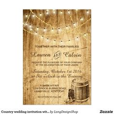 Country wedding invitation for a rustic wedding with string lights, cowboy boots, and barrel. This country wedding invitation set is perfect for your rustic wedding. By LangDesignShop via Zazzle Western Wedding Invitations, Wedding Party Invites, Beautiful Wedding Invitations, Rustic Invitations, Wedding Invitation Sets, Bridal Shower Invitations, Invitation Ideas, Wedding Cards, Dinner Invitations