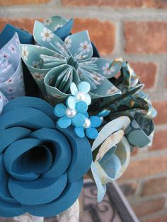 READY TO SHIP Teal & Turquoise Paper Flower Bouquet. Weddings, Bridal, Bridesmaid, Flower Girl Bouquet. Custom Orders Welcome. on Etsy, $70.00