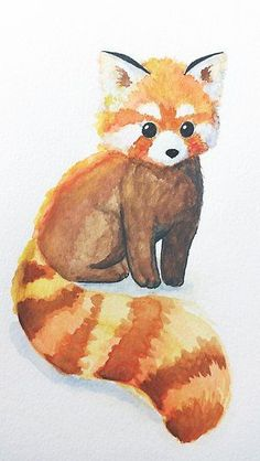 Animal Drawings Red Panda by deerinspotlight More - Watercolour panda Cute Animal Drawings, Cool Drawings, Cute Panda Drawing, Drawings Of Animals, Draw Animals, Baby Animals, Cute Animals, Panda Art, Animal Paintings