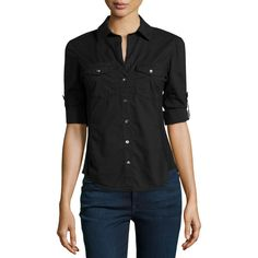 James Perse Button-Flap Pocket Button-Down Blouse ($62) ❤ liked on Polyvore featuring tops, blouses, black, black blouse, button up blouse, black three quarter sleeve top, black button up blouse and button down tops