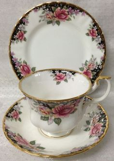 ROYAL ALBERT CONCERTO TRIO CUP SAUCER PLATE BLACK PINK ROSES more pieces instore