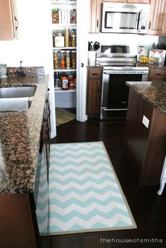 Painted Ikea rug for in front of the sink / The House of Smiths - Home DIY Blog - Interior Decorating Blog - Decorating on a Budget Blog