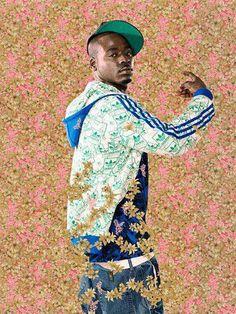 Kehinde Wiley, né en 1977 à Los-Angeles ( USA), vit et travaille à Brooklyn (New-York) il est actuellement.