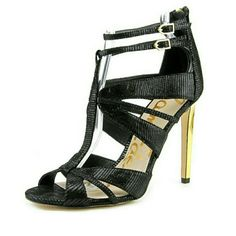 "Sam Edelman Pepper lizard heels Super comfortable! New, never worn, comes with box. Lizard embossed suede. Back zipper & adjustable buckle straps. 4 1/4"" heel. Sam Edelman Shoes"