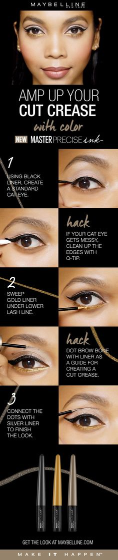 Master Precise Ink Metallic Liquid Liner is a long lasting, waterproof eyeliner with a smart-tip brush. Amp up your cut crease with color!  First, use the black liner to create a standard cat eye.  If your cat eye gets messy, clean up the edges with a q-tip.  Sweep gold liner under the lower lash line.  Dot the brow bone with liner as a guide to create the cut crease.  Lastly, connect the dots with silver liner to finish the look. #cutcreasenatural