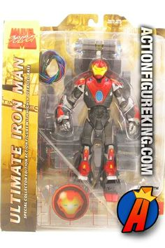 From the pages of the Ultimates comes this 7-inch scale Ultimate Iron Man action figure by Diamond Toys. Features multiple points of articulation and a highly detailed display stand/base. #ironman #ultimates #actionfigures #marvelselect