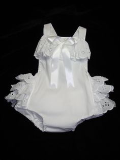 Little Miss Lillie Frilly Infant, Toddler, Baby Girl's White Eyelet Ruffled Sunsuit for Beach Portrait Wear Made to Order 3 Mos - 5T. via Etsy.