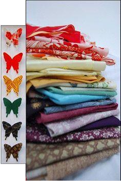 www.troostvlinders.nl  Idee voor project: Troostvlinders maken van de kleding van een overleden dierbare.