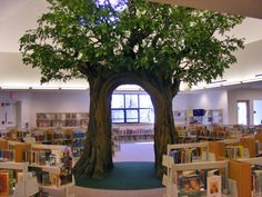 Wallingford Public Library, CT Another great indoor tree Kids Library, Library Design, Indoor Trees, Tree Sculpture, Indoor Playground, School Decorations, Library Displays, School Design, Sunday School