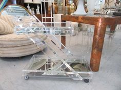 Glam Modern Lucite Z Bar Cart with mirrored top & bottom shelves. It measures H X W X D The Lucite is thick , clear & is in nice as found VINTAGE condition with minor surface scratches (see photos) Palm Beach Regency, Tea Trolley, Bar Cart, Modern, Home And Garden, Shelves, Ebay, Chair, Furniture