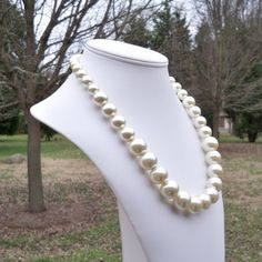 Athena  Graduated Chunky Cream Pearl Beaded Necklace by Tessyla, $45.00