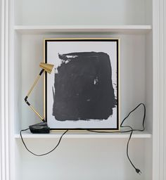 """about this piece I'd originally called this canvas something else, much artsier. However, as we were shooting the Holiday Collection, we began to affectionately refer to it as """"The Black Splotch."""" And"""