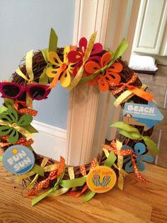 tropical, beach wreath for summer #wreath #summer #beach