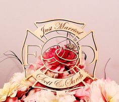 Stunning Fireman Wedding Crest Cake Topper Etsy listing at https://www.etsy.com/listing/208325951/firefighter-wedding-crest-cake-topper