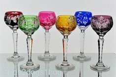 "6 Nachtmann Traube Cut to Clear Crystal Cordial Glasses Goblets 4 1/2"" Multi 