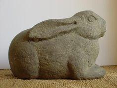 Japanese 20th century carved granite stone rabbit garden decoration.