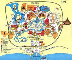 Map of Magic Kingdom, Walt Disney World, Florida, 1979 All Disney World Parks, Disney World Guide, Walt Disney World Vacations, Disney World Tips And Tricks, Disney Trips, Disney Worlds, Disney Travel, Family Vacations, Disney Dream