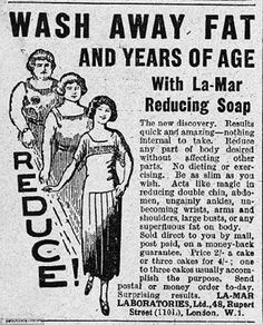 """WASH AWAY FAT AND YEARS OF AGE with La-Mar Reducing Soap. The new discovery. Results quick and amazing - nothing internal to take. Reduce any part of body desired without affecting other parts. No dieting or exercising. Be as slim as you wish. Acts like magic in reducing double chin, abdomen ... or any superfluous fat on body. ..."""