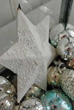 White snowy star and vintage glass ornaments ~ love it!