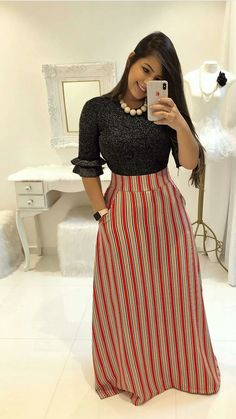 Swans Style is the top online fashion store for women. Shop sexy club dresses, jeans, shoes, bodysuits, skirts and more. Modest Wear, Modest Dresses, Modest Outfits, Skirt Outfits, Modest Fashion, Dress Skirt, Casual Dresses, Trend Fashion, Girl Fashion