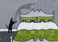Scaredy Cats Original Cat Folk Art Acrylic Painting by KilkennycatArt