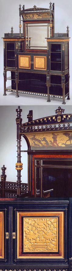 ebonized cabinet with painted cove frieze, Herter Brothers, New York, c. 1880, Aesthetic Movement