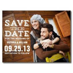 MODERN RUSTIC | SAVE THE DATE ANNOUNCEMENT POSTCARD.  $1.00