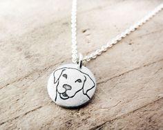 Tiny Yellow Lab necklace, dog jewelry, silver Labrador Retriever necklace