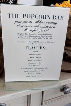Favor Table - The Popcorn Bar! Follow us @SIGNATUREBRIDE on Twitter and on FACEBOOK @ SIGNATURE BRIDE MAGAZINE