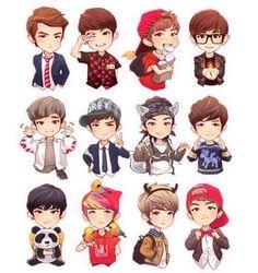 Kris, Do, Xiumin, Chanyeol, Chen, Suho, Kai, Lay, Tao, Sehun, Luhan, Baekhyun