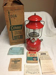 1958 Vintage Coleman 200A Camping Lantern With Box and Pyrex Globe VERY NICE!! | eBay