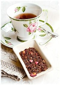 Mr. Darcy's Tea Blend: A handsome rooibos blend of cocoa bits, rose petals, dried strawberry & raspberry slices with red sugar hearts! Have a love affair with this most pleasing & whimsical tea inspired by Jane Austen / http://www.viannes.com/menu/tea-menu/#