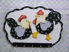 Porta chaves galo e galinha   Artesanatos Ingrid Carvalho   172540 - Elo7