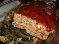"""Prime Time Cafe presents """"Mom's Meatloaf"""" Best meatloaf I have ever had! doesn't look as yummy as it does at the park but it is worth a try. i've been looking for this recipe for months! Mom's Meatloaf Recipe, Favorite Meatloaf Recipe, Best Meatloaf, Favorite Recipes, Hamburger Recipes, Beef Recipes, Beef Dishes, Tasty Dishes, Seasoned Bread Crumbs"""