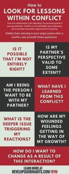 Psychology : Psychology : Relationship problems? Look for lessons within the conflict. ind ou