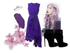 """Spring #30"" by angelfriend ❤ liked on Polyvore featuring Rochas, Alaïa, Spring, purple, black and Flowers"