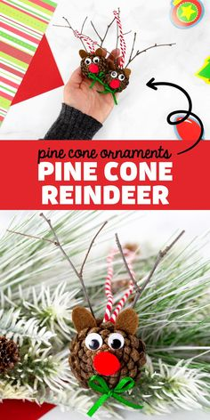 Pine Cone Reindeer Ornament - Making pine cone ornaments is such a fun holiday tradition! Our Fireflies and Mud Pies followers adore this darling pine cone reindeer ornament. It's perfect for kids to make at home or school. Arts And Crafts For Kids Toddlers, Animal Crafts For Kids, Craft Activities For Kids, Christmas Crafts For Kids, Xmas Crafts, Ocean Animal Crafts, Christmas Fun, Christmas Wishes, Kid Crafts
