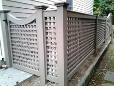 Grey Wood Lattice Fence and Gate
