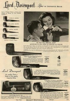 Vintage Ad (1947): Lord Davenport pipes