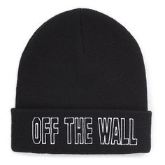 Say the Werd Beanie ($20) ❤ liked on Polyvore featuring accessories, hats, beanies, hair accessories, black, beanie hats, acrylic beanie, cuff beanie, vans hat and embroidered beanie hats