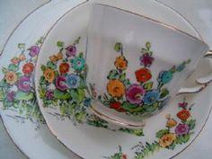 Crown Staffordshire Art Deco HOLLYHOCKS on white.TEA TRIO Cup saucer & plate