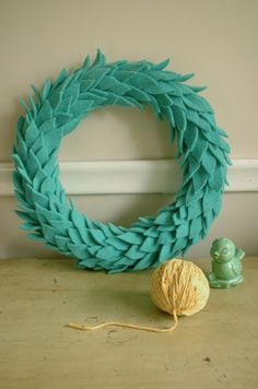 Aqua felt wreath - traditional yet unexpected.