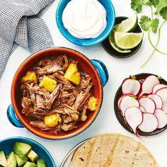 slow cooker tacos al pastor - Search Results - Canadian Living Slow Cooker Tacos, Slow Cooker Recipes, Crockpot Recipes, Cooking Recipes, Tacos Au Porc, Butter Chicken Slow Cooker, Beer Marinade, Lime Beer, Beef Pot Roast