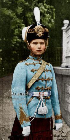 Grand Duchess Olga Nikolaevna Romanvoa of Russia (1895-191), eldest daughter of the last Tsar, in her Hussar uniform.