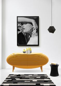 Accum | Sideboard Accum | Stool www.bitangra.com #modern ‪#interiors #interiordesign #luxuryfurniture #design #sideboard #black #yellow
