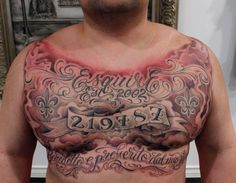 Mens chest tattoo with cross and wings chest tattoos for for Chest plate tattoos