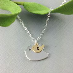 Mother Necklace, Mama Bird Baby Bird Necklace, Initial Bird Necklace, Christmas Gift, Baby Shower Gift, New Mom Gift, Mother Daughter, Gift on Etsy, $27.50