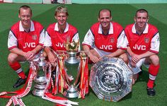 Silverware was always likely with a back four of Lee Dixon, Tony Adams, Steve Bould, and Nigel Winterburn. Arsenal Fc, Arsenal Players, Football Icon, Arsenal Football, Football Players, Lee Dixon, Tony Adams, Arsene Wenger, Art